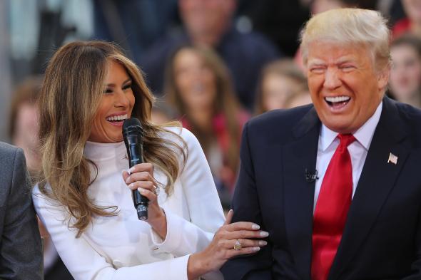 Melania Trump and Donald Trump Laughing