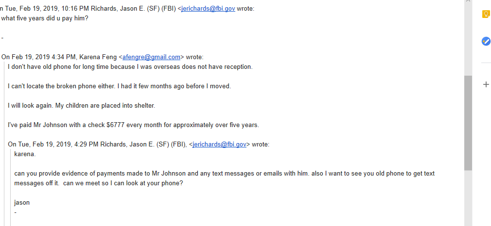 FBI Agent and Feng Email